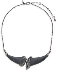 Alexis Bittar Gunmetal-tone, Black Crystal & Lucite Bib Necklace
