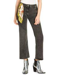 Off-White c/o Virgil Abloh Logo High-rise Cropped Jeans - Grey