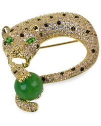 CZ by Kenneth Jay Lane Women's 18k Goldplated & Crystal Panther Brooch - Green