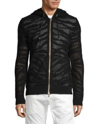 Balmain - Perforated Cotton Zip-up Hoodie - Lyst