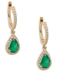 Effy 14k Yellow Gold Emerald & Diamond Dangle Drop Earrings - Green