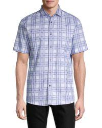 Karl Lagerfeld Men's Printed Short-sleeve Shirt - Blue - Size S