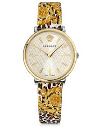 Versace Women's White Dial & Goldtone Ip Case Filigree Leather Strap Watch