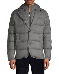Saks Fifth Avenue Hooded Down-filled Wool-blend Jacket - Grey