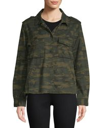 Sanctuary In The Fray Camouflage Cotton Jacket - Green