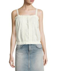 Current/Elliott - The Lace Cotton Eyelet Tank Top - Lyst