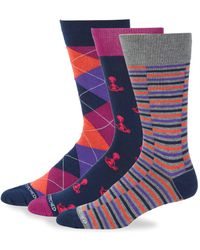 Unsimply Stitched | Three-pack Printed Crew Socks | Lyst