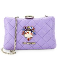 Love Moschino - Logo Quilted Convertible Clutch - Lyst
