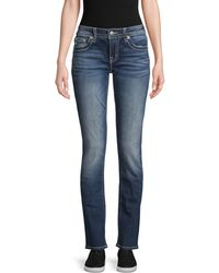 Miss Me Embellished Straight Jeans - Blue