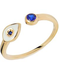 Gabi Rielle 22k Goldplated & Blue Crystal Evil Eye Adjustable Ring