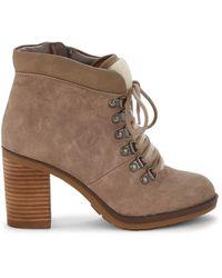Kensie Women's Atlanta Faux Fur-trim Heeled Booties - Taupe - Size 6 - Brown
