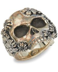 King Baby Studio Men's Sterling Silver Skull Ring - Size 12 - Metallic