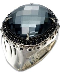 John Hardy - Bamboo Hematite, White Quartz, Black Spinel & Sterling Silver Dome Ring - Lyst