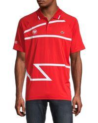 Lacoste Men's Asymmetric Graphic Polo - Fire - Size 8 (xxxl) - White