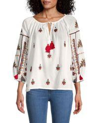 Velvet Nyssa Embroidered Tassel-tie Top - White