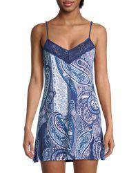 In Bloom Paisley-print Slip Dress - Blue