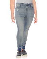 Seven7 - Plus Distressed Skinny Jeans - Lyst