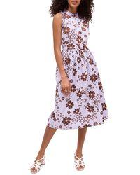 Kate Spade Floral Midi Flare Dress - Purple
