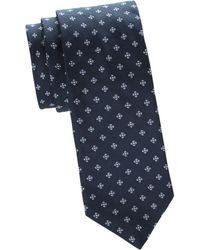 Saks Fifth Avenue Floral Silk Tie - Blue