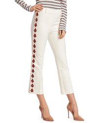 Derek Lam Crosby Embroidered Flare Pants - White