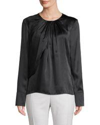Zac Posen Long-sleeve Silk Top - Black