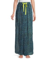 Free People Women's Sleepin In Printed Chiffon Wide-leg Pants - Navy Combo - Size S - Blue