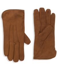 Portolano Cashmere-lined Suede Gloves - Brown