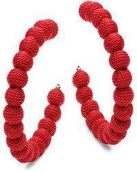 Kenneth Jay Lane Goldtone Hoop Earrings - Red