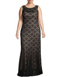 Marina Plus Two-tone Lace Gown - Black