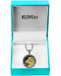 Effy Sterling Silver, Goldplated & Black Sapphire Lion Medallion Pendant Necklace - Metallic