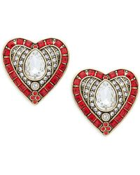 Heidi Daus Crystal & Rhinestone Hearts & Arrows Earrings - Multicolor