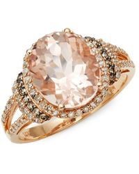 Effy 14k Rose Gold, Diamond And Morganite Ring - Metallic