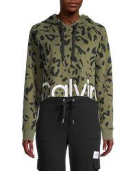 Calvin Klein Women's Animal-print Cropped Cotton-blend Hooded Jacket - Bonsai - Size L - Green