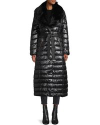 Karl Lagerfeld Faux Fur-trim Wrap Puffer Coat - Black