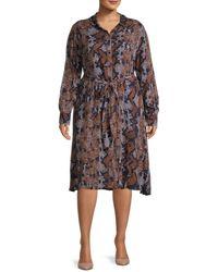 Estelle Women's Plus Python-print Dress - Python Print - Size 1x (14-16) - Multicolour