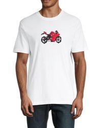 French Connection Men's Pixel Motorbike T-shirt - Linen White - Size M