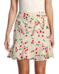 The Kooples Women's Cherry-print Silk Mini Skirt - Ecru - Size 2 (m) - Multicolour
