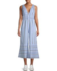 Red Carter Kelly Striped Chambray Jumpsuit - Blue