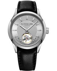 Raymond Weil Men's Freelancer Leather-strap Watch - Black