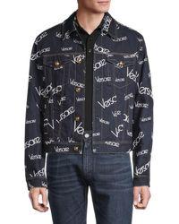 Versace Men's Logo-print Denim Jacket - Blue - Size 50 (40)