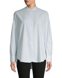 Vince Raw Edge Cotton & Silk-blend Shirt - Blue