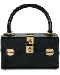 Dolce & Gabbana Leather Top Handle Box Bag - Black