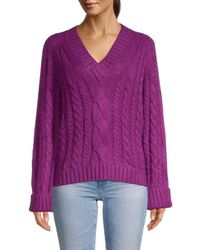 Rebecca Minkoff Women's V-neck Pullover Jumper - Dark Raspberry - Size Xs - Purple