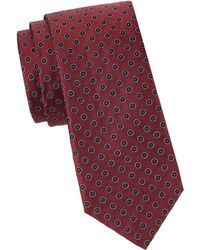 Saks Fifth Avenue Dotted Silk Tie - Red
