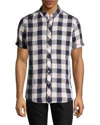 Report Collection Short Sleeve Linen Chequered Shirt - Blue
