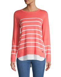Calvin Klein Women's Striped Twofer Jumper - Porcelain Rose - Size S - Multicolour