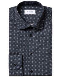 Eton Men's Slim-fit Printed Dress Shirt - Blue - Size 15