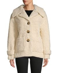 Free People Notch Collar Faux Fur Peacoat - White