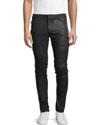 Balmain - Textured Skinny-fit Jeans - Lyst