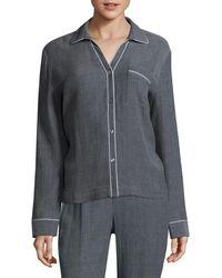 Skin Cotton Pyjama Top - Blue